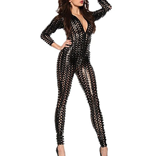 Clubwear Costumes (MSsmart (TM) Women's Sexy Hollow Out Catsuit Costumes Leather Zip Up Clubwear Stripper)