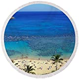 Pixels Round Beach Towel With Tassels featuring ''Beach At Hanauma Bay Oahu Hawaii Usa'' by Pixels