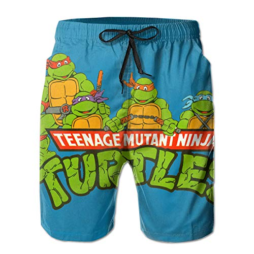 TMNT Mens Swim Trunks Shorts Quick Dry Bathing Suits with Mesh Lining White
