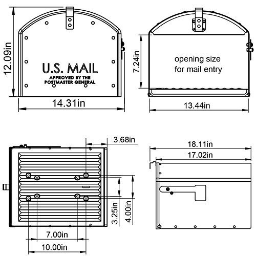 Gibraltar Mailboxes Storehouse Extra Large Capacity Galvanized Steel Black, Post-Mount Mailbox, SH400B01 by Gibraltar Mailboxes (Image #3)