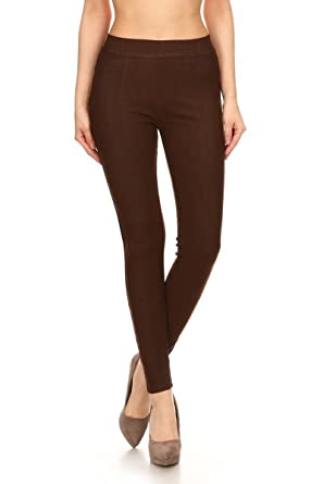 eaf55c92758 Leggings Depot Premium Quality Cotton Blend Stretch Jeggings with 2 Pockets  at Amazon Women's Clothing store: