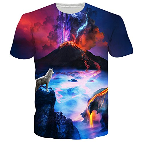 RAISEVERN Unisex 3d Lightning Upon Volcanic Eruptions Print Novelty T Shirts Tees Clothes Mexico Volcano Eruption 1 - Pay For Shipping