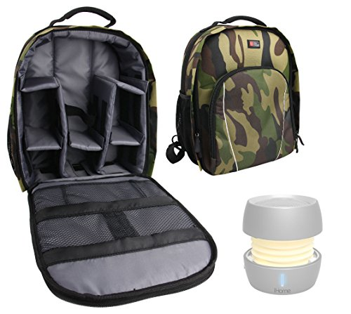DURAGADGET Premium Quality, Camouflage Water-Resistant Rucksack/Backpack - Suitable for The iHome iBT73 Color Changing Bluetooth Rechargeable Mini Speaker- with Customizable Interior & Raincover