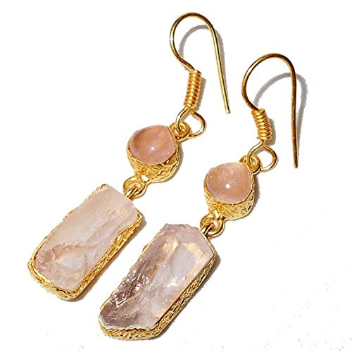 Dangling Gemstone Earrings (Sitara Collections SC10301 Gold-Plated Rough Gemstone Earrings, Rose Quartz)
