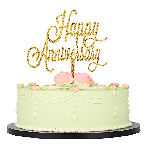 LXZS-BH Gold Glitter Acrylic Happy Anniversary birthday cake topper for - Wedding,Birthday Party Decoration (Anniversary Glitter)