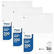 """Mead Filler Paper, Loose Leaf Paper, College Ruled Paper, 200 Sheets, 10-1/2"""" x 8"""", White, 3 Pack (73185)"""