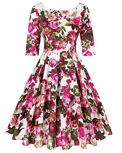 MINTLIMIT Rockabilly Hepburn Pleated Floral Cocktail Vintage Tea Dresses 1950s Vintage Dresses for Women(Floral Fuchsia,Size XL) ()
