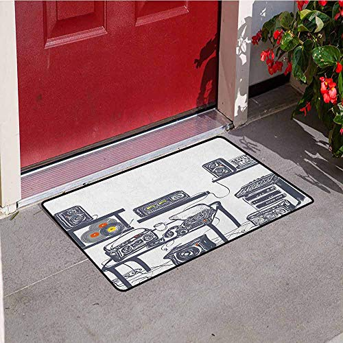 GloriaJohnson Modern Commercial Grade Entrance mat Recording Studio with Music Devices Turntable Records Speakers Digital Illustration for entrances garages patios W29.5 x L39.4 Inch Cadet Blue