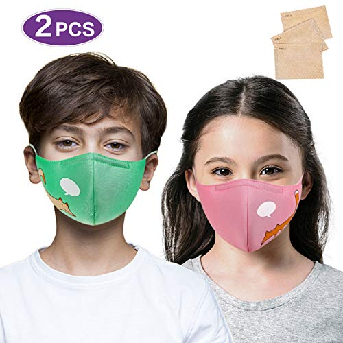 AOGE 2Pcs Washable Reusable Face Mask for Kids Adjustable Ear Loops, Cute Cartoon Print Mask, Breathable Protective Cotton Fabric Cloth Face Cover with Dust Filter Pocket (Puppy&Fox)