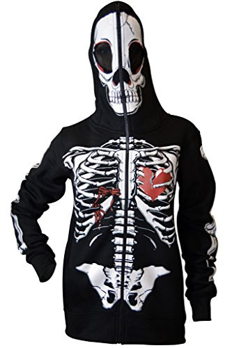 Women Full Face Mask Skeleton Skull Hoodie Sweatshirt Halloween Costume Hoodie Black -