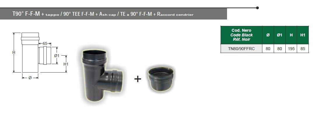 Empalme a T negro mate para estufa de pellets de acero Grosor 1,2 mm. Diámetro 80 Tubo: Amazon.es: Bricolaje y herramientas