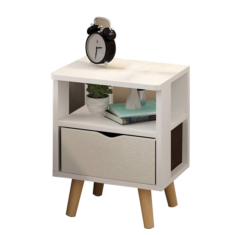 White- E As shown Tingting Simple Drawer with Door Economic Type Bedside Wood-Based Panel Four-Corner Support 7 Styles to Choose from (color   White-H, Size   As Shown)