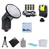 Elite Series Universal Speedlite Automatic Zoom Bounce Flash + 4 Rechargeable AA Batteries with AC/DC Car/Home Charger + Complete Deluxe Starter Kit w/ 6pc Memory Card Case + a Mini Tripod for Sony A35, A37, A58, A65, A77, A99, A200, A230, A350, A390, A550, A700 & More