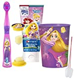 "Disneys Tangled Inspired 4pc Bright Smile Oral Hygiene Set! Princess Rapunzel Toothbrush, Toothpaste, Brushing Timer & Mouthwash Rinse Cup! Plus Bonus ""Remember to Brush"" Visual Aid!"