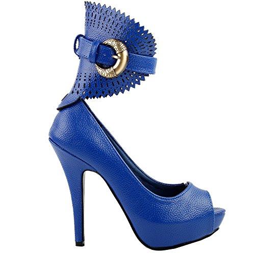 Moyen Floral Bleu Pompes Gladiator Motif Histoire forme Lf30402 Plate Animaux À Montrer Multicolores qE67wwC