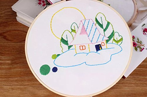 Embroidery Kit for Beginner Cute Animal Design DIY Home Wall Decor Little House in Countryside