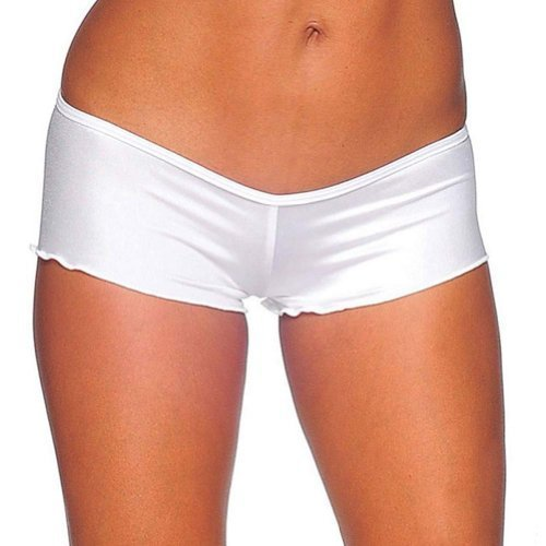 [White Scrunch Back Micro Shorts (One size for all)] (Mens Sports Costume Ideas)