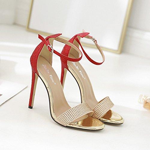 RUGAI-UE europäische Damenschuhe, hochhackige Schuhe, europäische RUGAI-UE und amerikanische Mode, Zehendruck, Sandalen und Sandalen. - 77859c