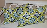 Set of 2 - Indoor / Outdoor Jumbo, Large, Over-sized, Rectangle / Lumbar Chaise Lounge Decorative Throw / Toss Pillows - Blue, Green, Yellow, White Floral Bohemian Sundial
