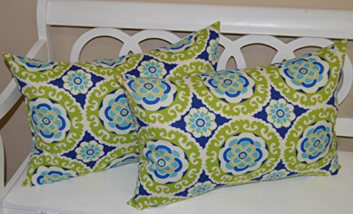 Set of 2 - Indoor / Outdoor Jumbo, Large, Over-sized, Rectangle / Lumbar Chaise Lounge Decorative Throw / Toss Pillows - Blue, Green, Yellow, White Floral Bohemian Sundial (Lounge Bohemian Chaise)