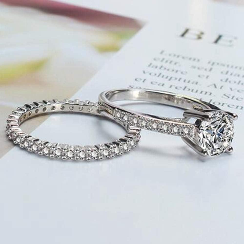 Jude Jewelers Platinum Plated Simulated Diamond Wedding Engagment Eternity Bridal Ring Set Silver, 6