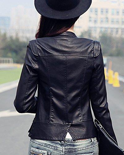 Corta Negro Cuero PU Blazer Larga Mujer Con Chaqueta Para Slim Manga Chaquetas STExq5P