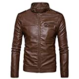 Spbamboo Mens Jacket Clearance Lightweight Stitching Zipper Collar Leather Coat