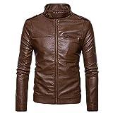 Jacket Leather Coat Men Christmas Halloween Christmas Eve Mens Autumn Winter Men's Fashion Jacket Symmetrical Zipper Stand Collar Imitation Coat