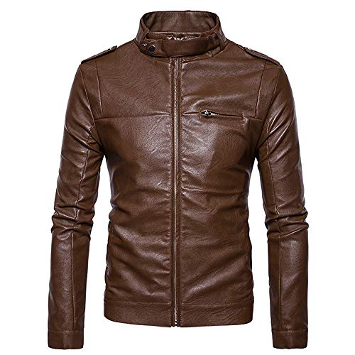 Outdoor Symmetrical Imitation Jacket Collar Fashion Leather Give Jackets Waterproof Men's Coat Stand koiu❀❀Men's Zipper Khaki AwxZqw50S