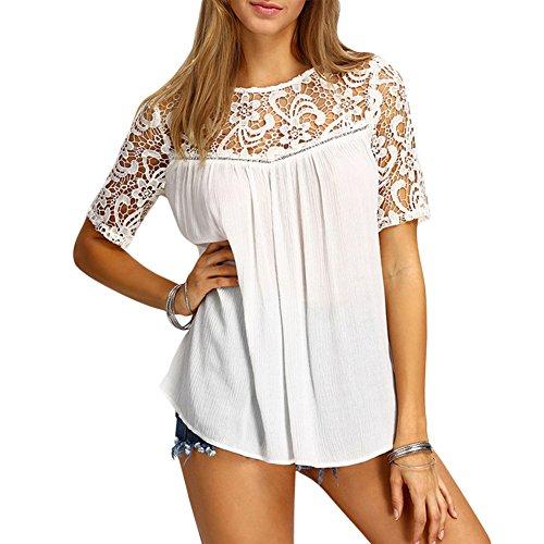 iBaste Camisa Sin Mangas Ocasional Del Collar Del Cordón Del Verano De La Mujer Blanco