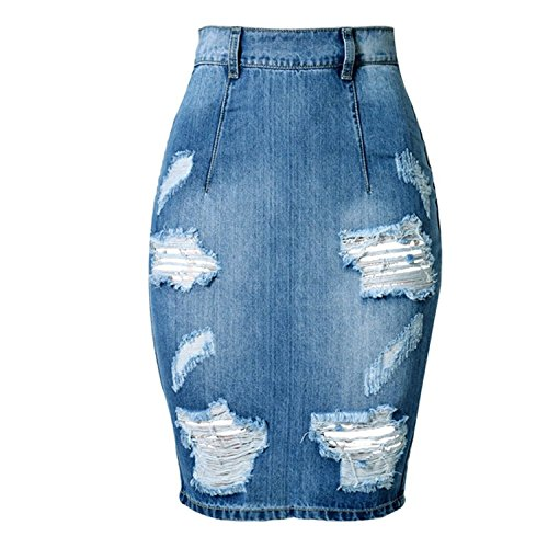 soda park womens high waist ripped hole washed jean skirts package hip skirts size 42