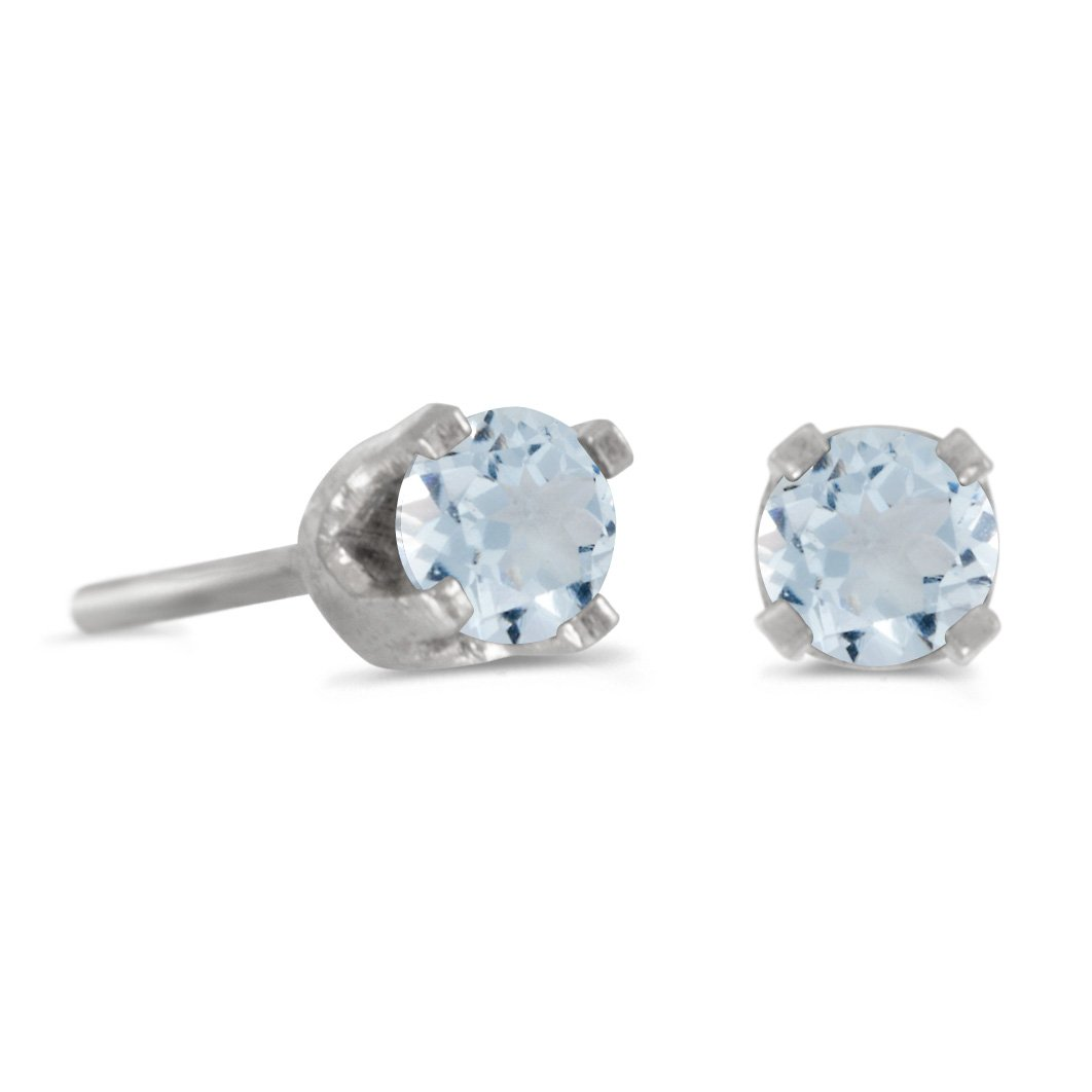 14k Petite White Gold Round Genuine Aquamarine Stud Earrings