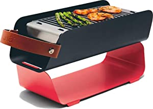 Una Portable Charcoal Grill: Compact Storage - Tabletop Safe – Red - Shish Kebab Skewer Stand - Great for Camping, Tailgating, Picnic, Backyard Cooking - Birthday Gift, Fathers Day - Dishwasher Safe