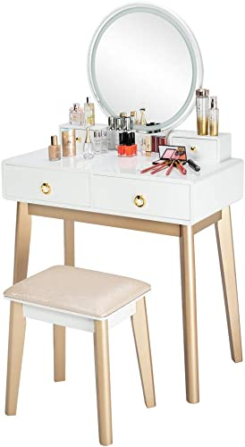 Vanity Table Set with Touch Screen Dimming Mirror,3 Color Lighting Modes,with 4 Sliding Drawers, Modern Bedroom Makeup Table and Cushioned Stool Set White,Grey
