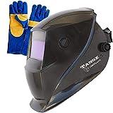 Tanox Auto Darkening Welding Helmet ADF-206S: Solar Shade Lens, Tig Mig MMA, Adjustable Range 4/9-13, Grinding 0000, Plus 16 Inch Kevlar Fire Retardant Welding Gloves