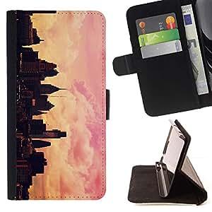 Momo Phone Case / Flip Funda de Cuero Case Cover - Ciudad de pintura del artista Pink Sunset de Orange - LG G4c Curve H522Y (G4 MINI), NOT FOR LG G4
