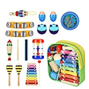 Bibnice Kids Toys Musical Instruments Backpack Include Xylophone Harmonica Bells Maracas Percussion Toys, Early Education Learning Toys for Toddler, Baby and Preschool Children -15 PCS