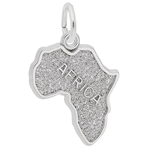 Africa Charm In 14k White Gold, Charms for Bracelets and Necklaces by Rembrandt Charms
