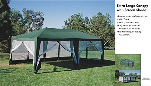 Deluxe Party Tent- 20'x12' Hunter (Tailgating Canopy Party Tent)