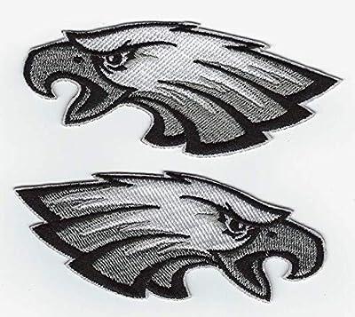 "Philadelphia Eagles Logo Iron on Football Jersey Hat Patch Set 2.25"" / 3.5"""