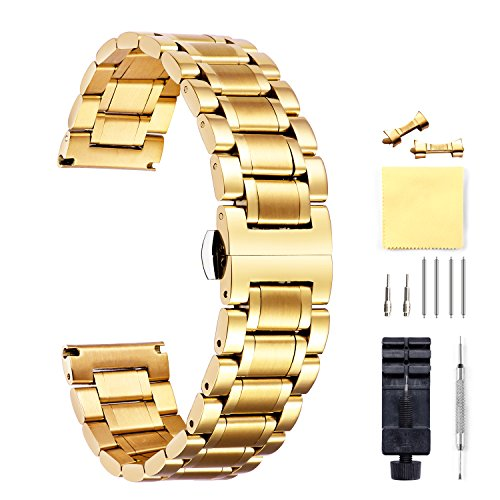 Stainless Steel Watch Bands with Straight & Curved End 5 Color(Gold, Sliver, Black, Rose Gold, Gold-Silver Two Tone) 9 Size(12mm to 24mm)