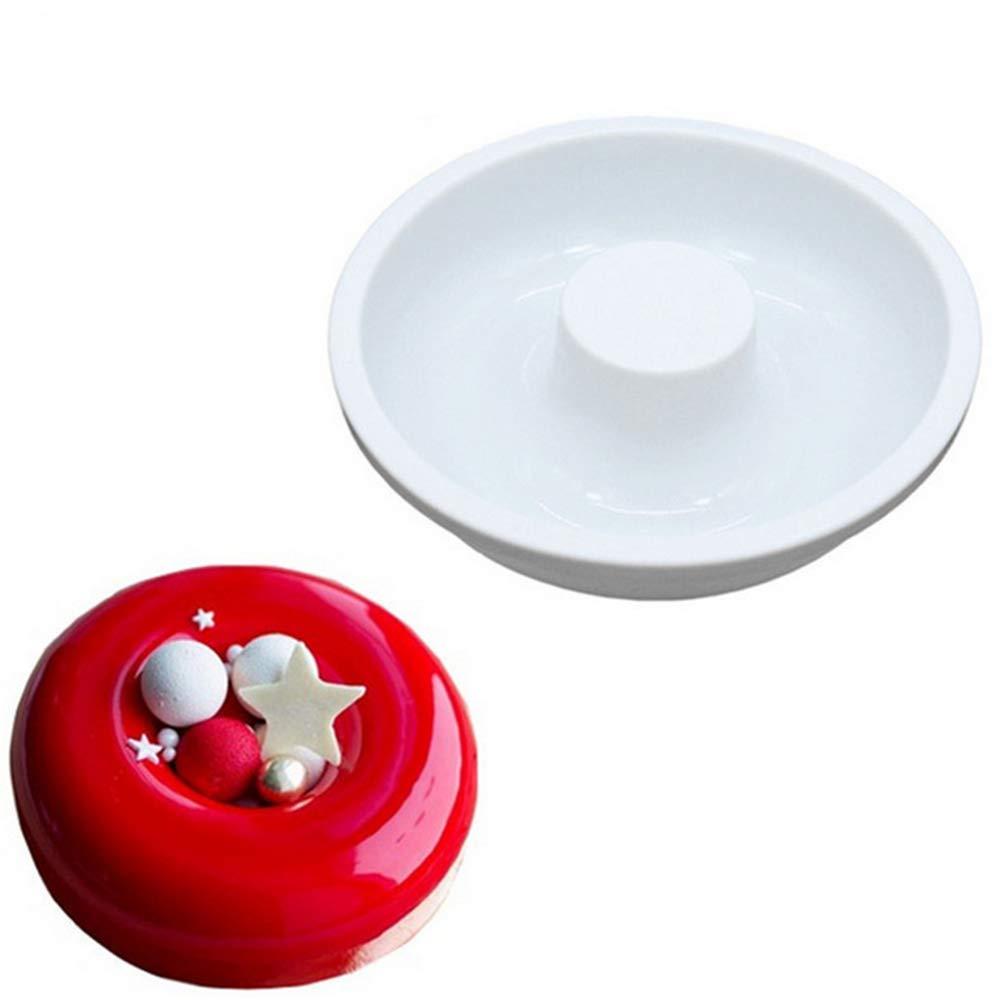 Hewnda Round Silicone Donut Mould - Chocolate Mousse Mould - DIY Decorative Baking Tray - Baking Tools Cake Decorating Plate(White)
