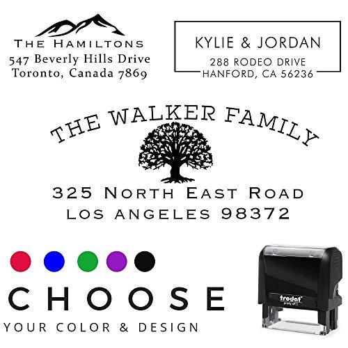 Self Inking Stamper (Choose Your Design! Return Address Stamp Stamper Self Inking Personalized Customized Stamp Return Address Mail 3 4 Lines. Mail Envelopes. Black Red Blue Purple Green)