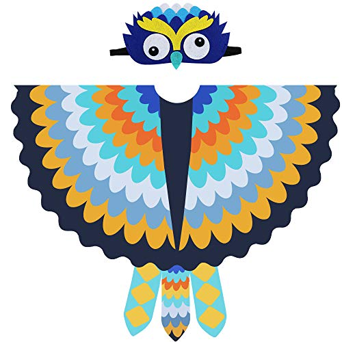 Bird Costume for Kids, Toddler Boys Girls Owl Wing Shawl with Felt Feathered Mask