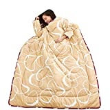 WaiiMak Lazy Winter Quilt with Sleeves Very Comfortable Thickened Washed Quilt Blanket (Yellow)