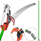 Happybuy Extendable Tree Pole Pruner 26 Foot Pole Saw Tree Saw Alloy Steel Branch Long Reach Pole Pruning Saw for Sawing and Shearing