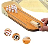 LMMVP Mini Wooden Desktop Bowling Toys Set Office Board Game Toy Party Game For Kids and Adults