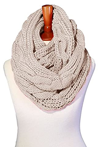 Basico Women Winter Chunky Knitted Infinity Scarf Warm Circle Loop Various Colors (Cable Beige) - Yarn Fuchsia Plum