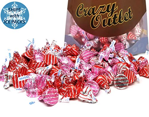 CrazyOutlet Pack - Hershey's Kisses Hugs Red Pink Warp, Mothers Day Kisses Candy Bulk Assortment, 2 lbs