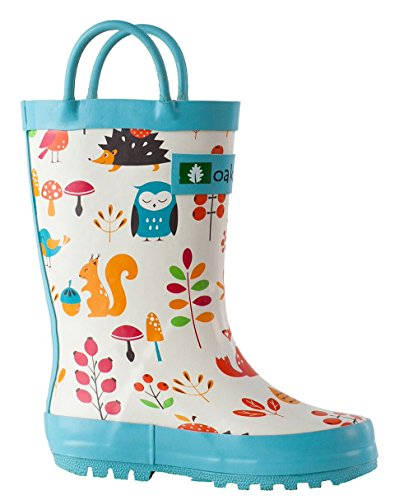 Oakiwear Kids Waterproof Rubber Rain Boots with Easy-On Handles (Forest Animals, 8 M US Toddler)